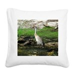 Sandhill Crane on Patrol LS Square Canvas Pillow