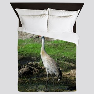 Sandhill Crane on Patrol LS Queen Duvet