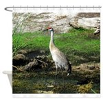Sandhill Crane on Patrol LS Shower Curtain