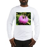 Bumble bee on Magenta Thistle Flower Long Sleeve T