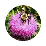 Bumble bee on Magenta Thistle Flower Ornament (Rou