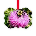 Bumble bee on Magenta Thistle Flower Ornament