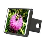 Bumble bee on Magenta Thistle Flower Hitch Cover