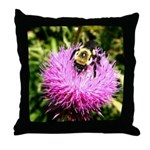 Bumble bee on Magenta Thistle Flower Throw Pillow