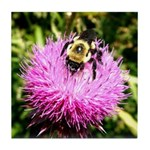 Bumble bee on Magenta Thistle Flower Tile Coaster