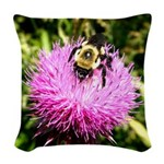 Bumble bee on Magenta Thistle Flower Woven Throw P