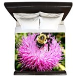 Bumble bee on Magenta Thistle Flower King Duvet