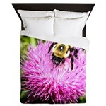 Bumble bee on Magenta Thistle Flower Queen Duvet