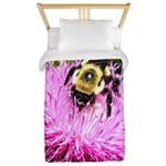Bumble bee on Magenta Thistle Flower Twin Duvet