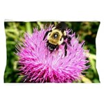 Bumble bee on Magenta Thistle Flower Pillow Case