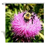 Bumble bee on Magenta Thistle Flower Shower Curtai