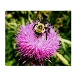 Bumble bee on Magenta Thistle Flower Throw Blanket