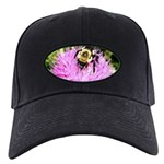 Bumble bee on Magenta Thistle Flower Baseball Hat