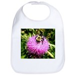 Bumble bee on Magenta Thistle Flower Bib