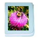 Bumble bee on Magenta Thistle Flower baby blanket