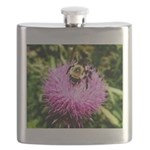 Bumble bee on Magenta Thistle Flower Flask