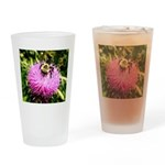 Bumble bee on Magenta Thistle Flower Drinking Glas
