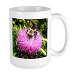 Bumble bee on Magenta Thistle Flower Mug