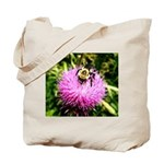 Bumble bee on Magenta Thistle Flower Tote Bag