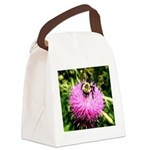 Bumble bee on Magenta Thistle Flower Canvas Lunch