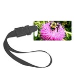 Bumble bee on Magenta Thistle Flower Luggage Tag