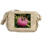 Bumble bee on Magenta Thistle Flower Messenger Bag