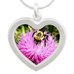 Bumble bee on Magenta Thistle Flower Necklaces