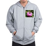 Bumble bee on Magenta Thistle Flower Zip Hoodie