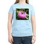 Bumble bee on Magenta Thistle Flower T-Shirt