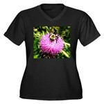 Bumble bee on Magenta Thistle Flower Plus Size T-S