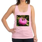 Bumble bee on Magenta Thistle Flower Racerback Tan