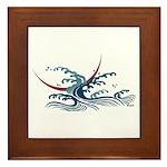 Japanese wave art Framed Tile