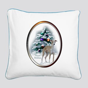 Italian Greyhound Christmas Square Canvas Pillow