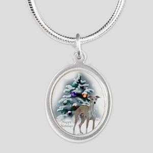 Italian Greyhound Christmas Silver Oval Necklace