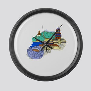 beijing city travel graphic 1 Large Wall Clock