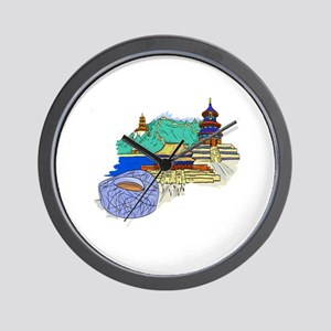 beijing city travel graphic 1 Wall Clock