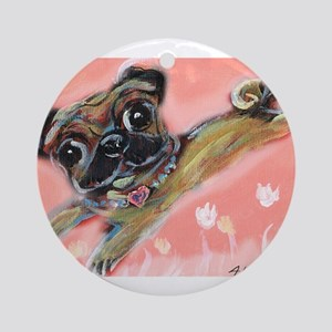 Flying pug love Ornament (Round)