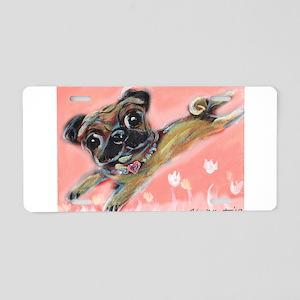 Flying pug love Aluminum License Plate
