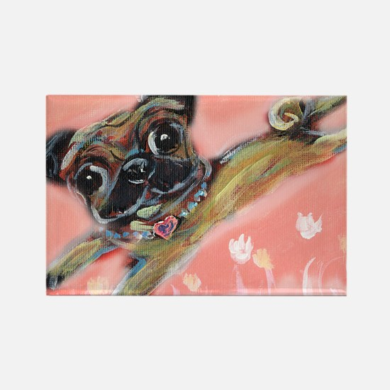 Flying pug love Rectangle Magnet
