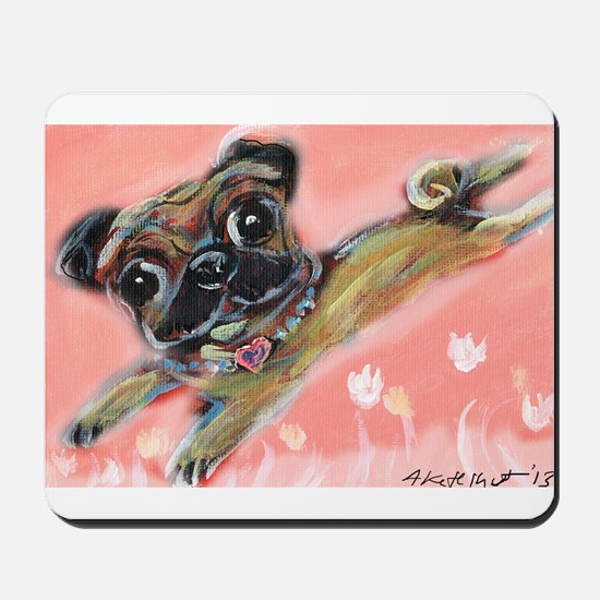 Flying pug love Mousepad