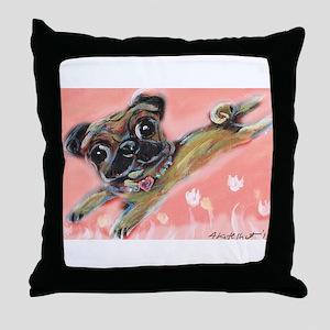 Flying pug love Throw Pillow