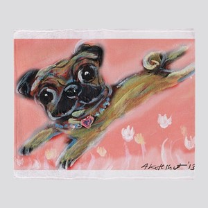 Flying pug love Throw Blanket