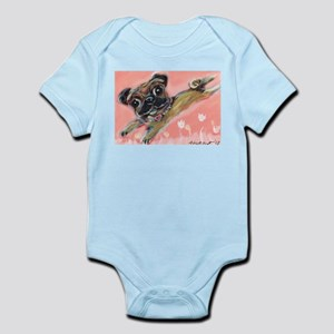 Flying pug love Body Suit