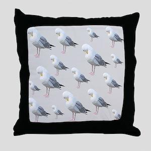 Preening Gulls. Throw Pillow