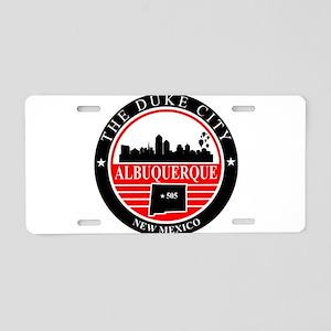 Albuquerque logo black and red Aluminum License Pl
