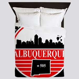 Albuquerque logo black and red Queen Duvet