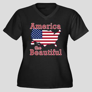AMERICA the BEAUTIFUL Women's Plus Size V-Neck Dar