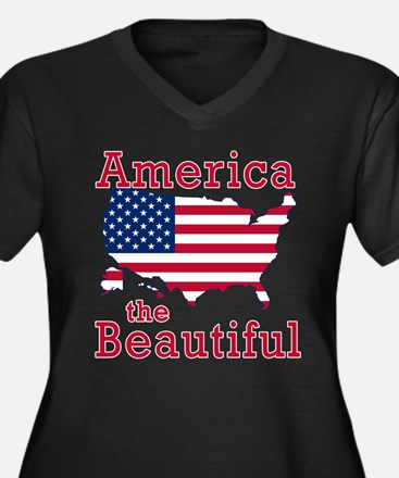 AMERICA the BEAUTIFUL Women's Plus Size V-Neck Dar