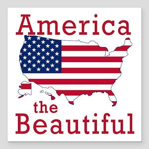 "AMERICA the BEAUTIFUL Square Car Magnet 3"" x 3"""