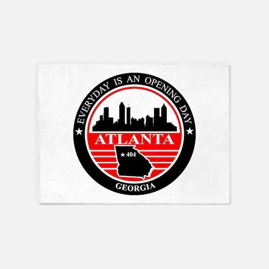 Atlanta logo black and red 5'x7'Area Rug